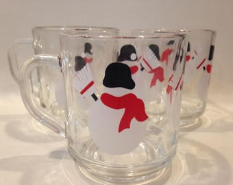 Vintage set of Luminarc Glass Snowman Mugs (3)