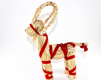 danish vintage christmas straw decoration goat with red ribbon made in denmark 1950