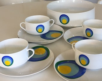 Eschenbach Mod Pop Serving Bowl, Cups and Plates - Bavaria Germany - White with Blue, Yellow and Green Dots