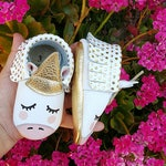 Gold Dot Unicorn Moccasin | Baby Moccasins | Baby Moccs | Handmade Baby Moccasins | Unicorn Moccs | Unicorn Shoes.