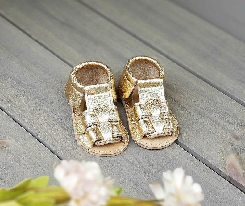 1b3a5edb95c48 F M Sandal in Gold | Baby Sandals | Moccs Sandals | Sandals for babies |  Handmade Sandals | Sandals for girls | Gold Sandals | Sandals