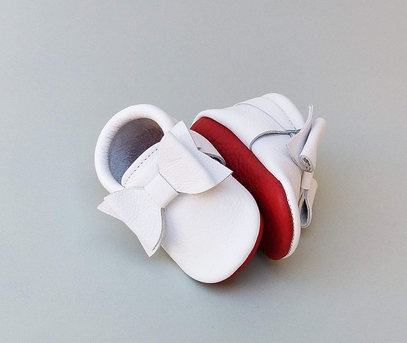 d5f6ee8c54d White Baby Shoes with Red Sole Moccs Baby Girl Moccasins