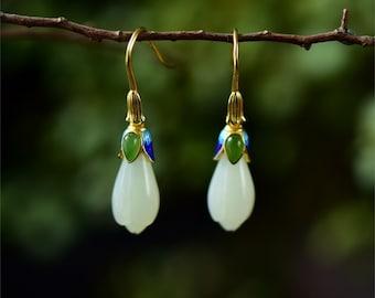 Jade Earrings . Jade Earrings Gold . Genuine Jade Earrings . Jade Dangle Earrings . Green Stone Earrings . Jade Drops . Bijoux En Jade