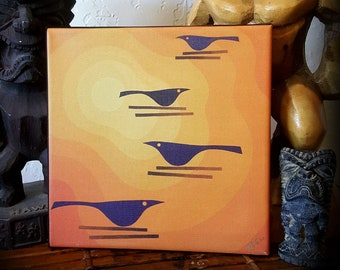 Witco's Summer - Original Art Canvas Print - FREE U.S. SHIPPING - Birds - Tiki - Retro Inspired