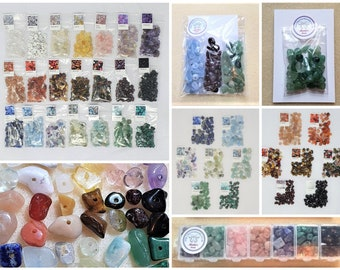 Choose your own Gemstone Crystal Chip Beads 12g free box when you buy enough to fill the 7 sections - (with holes - drilled)