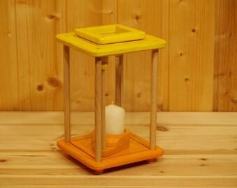 Wooden lantern, wind light, decorative lamp, yellow/orange