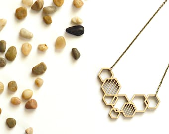 Honeycomb Necklace -Hexagon Necklace - Wooden Necklace - Wood Statement Necklace - Laser Cut Wood Necklace - Birch Necklace - Wood Jewelry