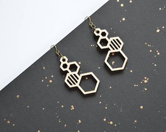 Hexagon Stud Earrings  - Hexagon Earrings - Hexagon Studs - Honeycomb Earrings - Laser Cut Wood Earrings - Ecofriendly Earrings - Wood Studs