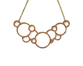 Laser cut bubble necklace - Geometric wooden pendant - Wooden jewelry - Laser cut wood - 5th anniversary gift - Minimalist jewelry