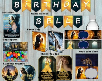 Beauty and the Beast 2017 invitation kit, Party package, Belle Party set