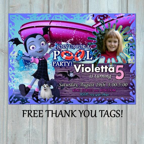 Vampirina pool birthday invitation disney splash vampir etsy stopboris Gallery