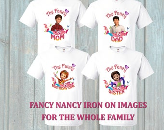 Fancy Nancy Iron on Transfer Images for Birthday Girl for the Family Members, Set of Iron on Images