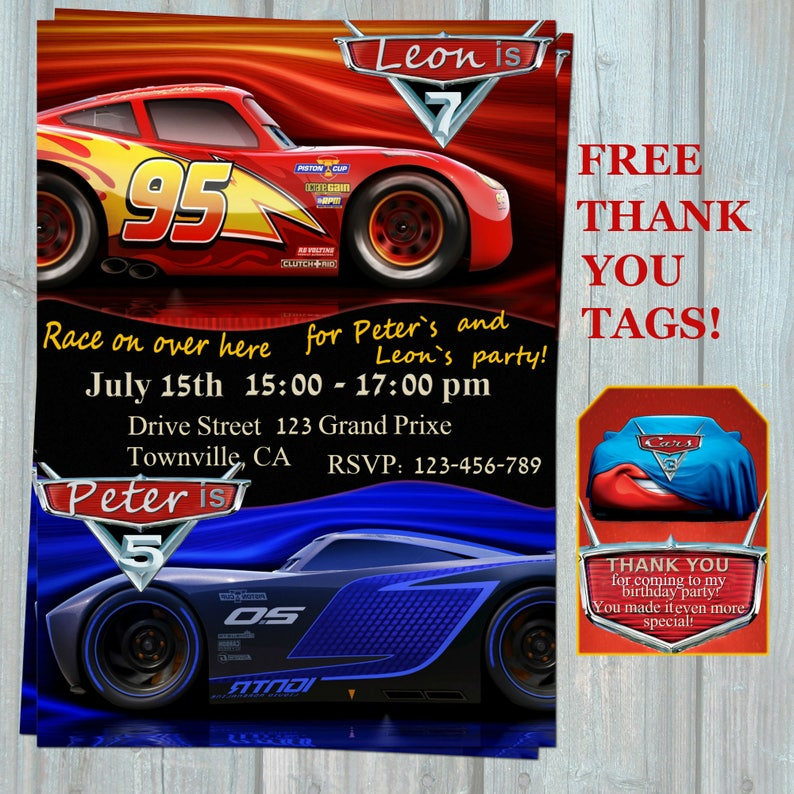 Cars 3 Sibling Birthday Invitation 2017 Double