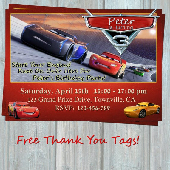 Cars 3 Birthday Invitation MCQueen Party