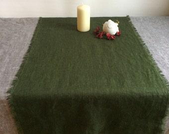 Dark  green table runner,   Holiday table decor, Emerald table runner