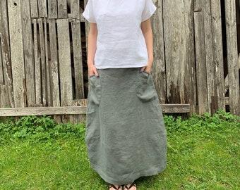 8b4fa95114 Linen Skirt, Summer Skirt, Maxi Skirt, Skirt with Pockets, Long Skirt,  Linen Clothes, Plus Size Skirt, High Waisted Skirt Floor Length Skirt