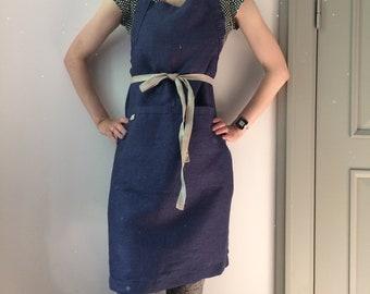 Adjustable Apron, Kitchen Apron, Gardener Apron, Linen Apron with Front Pockets, Chef Apron, Apron in Blue Color