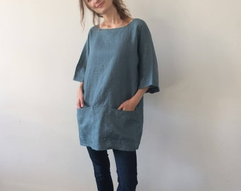 fd3944eb212 Blue Green Linen Tunic
