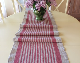 Red Striped Table Runner, Linen Table Runner,  Farmhouse Table Runner, Summer Table Runner
