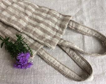 Organic Bath Brush, Bath Sponge, Scrubber, Back Brush, Shower Brush, Striped Linen Body Brush, Massage and Skin Care, Linen Scrubber