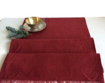 Red table runner, Rustic linen table runner,  Holiday table decor, Dark Red table runner.