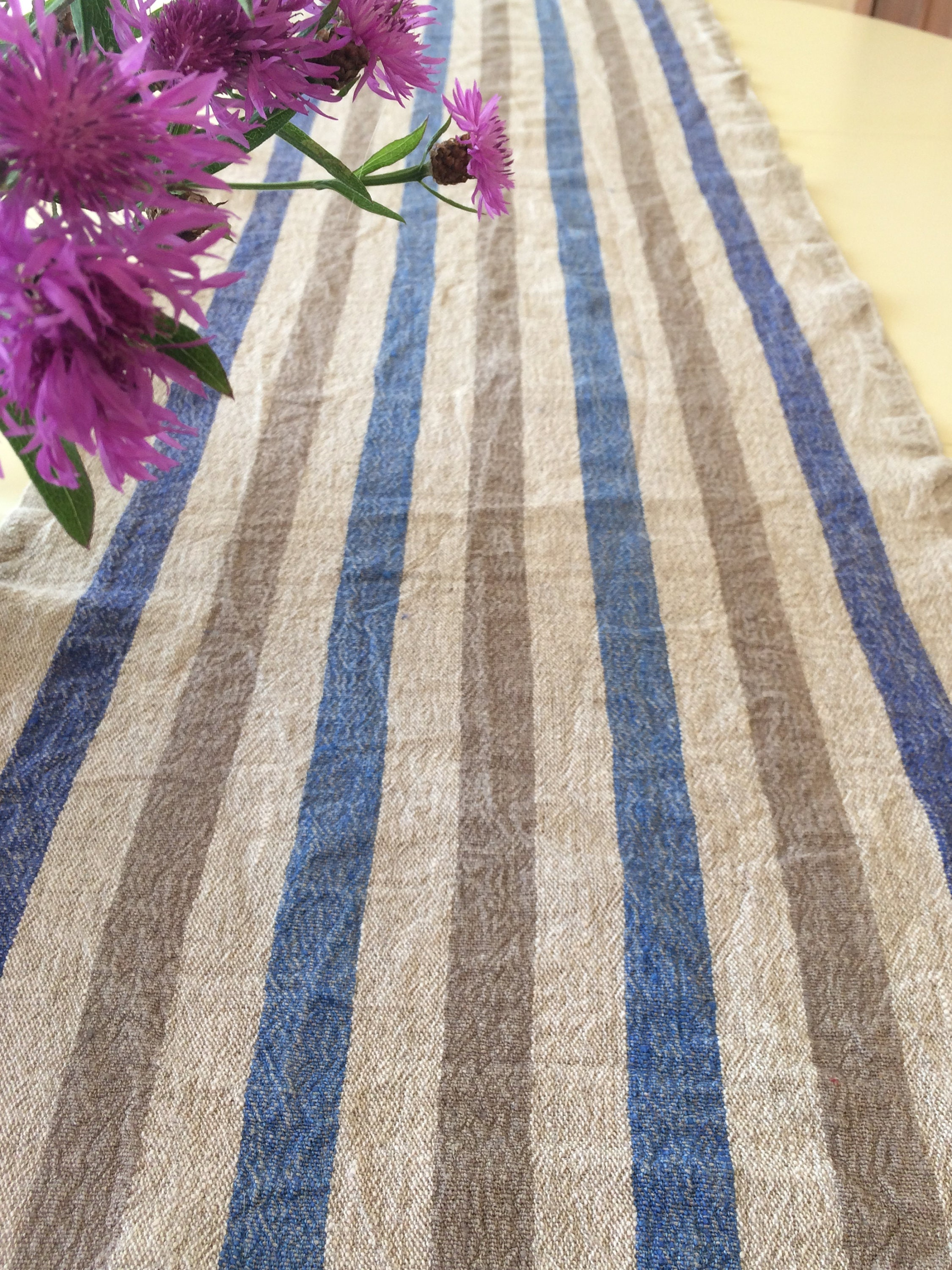 Blue Striped Table Runner With Fringes, Shabby Chic Table Runner, Rustic  Linen Table Run, Vintage Style Table Runner, Country House Decor