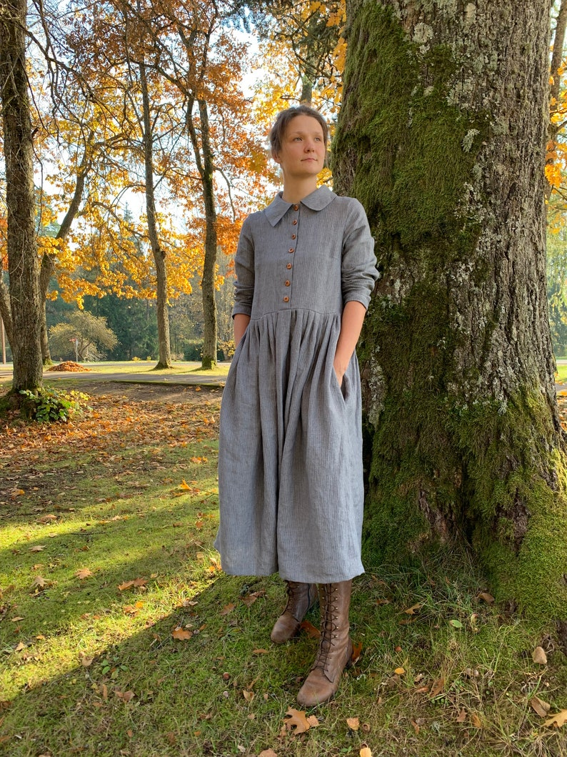 1920s Day Dresses, Tea Dresses, Mature Dresses with Sleeves Classic Linen Dress with Collar Traditional Linen Dress with Buttons Women Dress with pockets Plus Size Dress Loose Linen Dress Dress $139.99 AT vintagedancer.com