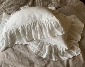 Linen Pillow Cover with Ruffles, Linen Pillowcase, Linen Ruffle Pillow Case, Ruffled Pillow Case, Ruffle Pillow Shams, Envelope Pillow Cover