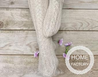 Hand knit wool knee long socks/Hand knit merino wool socks/Natural wool hand knitted socks/Warm socks/Warm knit socks