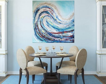 THE WAVE Seascape Painting,Large Blue Painting,Coastal Beach Art,Ocean Wave,Sea Seascape Canvas Art,Blue Turquoise Art,Abstract Painting