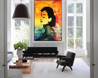 GICLEE PRINT - Audrey HEPBURN - Large Print, Modern Print, Canvas Wall Art, Canvas Print, Huge Wall Art, Modern Painting by Kathleen Artist