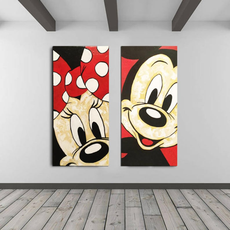 Mickey Mouse Art Minnie Mouse Walt Disney Bedroom Decor Kids Wall Decal Acrylic Painting Ready To Hang Modern Wall Art Gifts Paintings