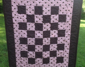 Brown and Pink Polka Dot Patchwork Quilt