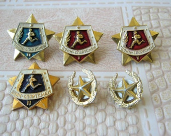 Set of 6 pins Warrior sportsmans + 2 stars Soviet army pins Warrior athlete pin Military award Ready for labour and defence Sport pin Gift