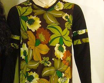 Floral print mens fashion knit top