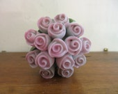 Vintage Roses Miniature doll house decor pink and pretty ceramic porcelain w free ship