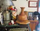 Large Old Round Burlwood Vase, Turned Wood