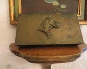 Vintage Silvercrest Bronze Arts Crafts Box with Dog Motif, Wood Lined