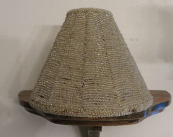 Beaded lamp shade etsy vintage beaded wire lamp shade glass seed bead candle shade greentooth Gallery