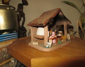 Vintage Folk Art Pottery Clay Diorama Market House Red Roof Mexico Latin America