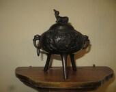 Vintage Bronze Koro incense burner, ornate, foo dog lid, heavy w free shipping