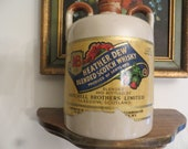 The Greybeard Heather Dew Whiskey Jug Crock, Vintage Glasgow Scotland Stoneware