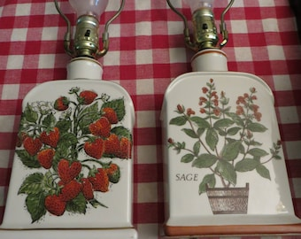 Hand Painted Porcelain Lamps, Strawberry & Sage, Calling all Gardeners, Cooks, Chefs Country Kitchen Farm House Decor