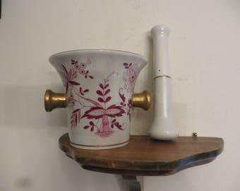 Antique Vintage Porcelain hand painted Mortar and Pestle Set signed w/ free ship
