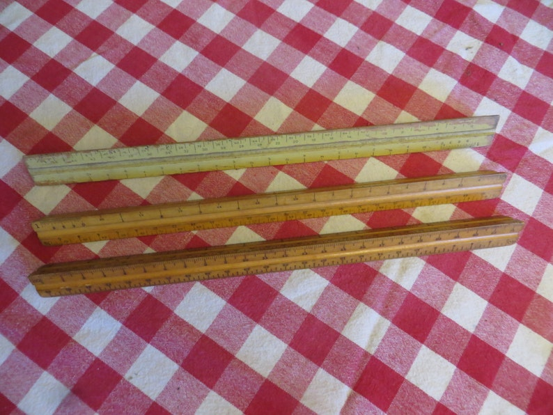 2 K and E Co /& 1 Pearwood Charvoz vintage w free ship Lot of three Triangle Wooden Rulers