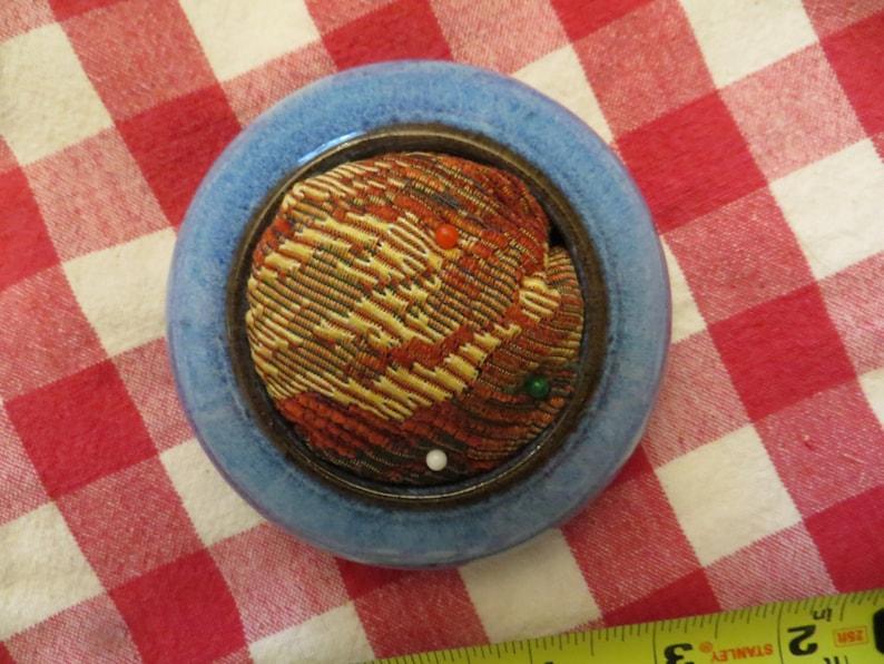 Pin Cushion with Ceramic Base.