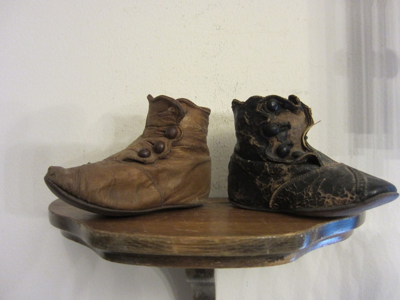 Antique Victorian Baby Shoes Leather