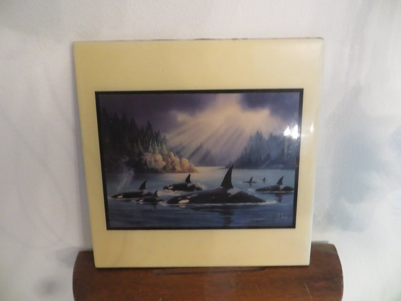 Anthony Casey Ceramic Whale Tile Art Whales  w free ship