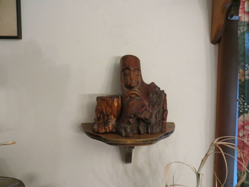 Wooden Face, Incense Carved Wood Tree Trunk Candle Holder