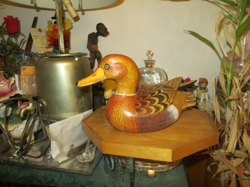 Carved Wood Duck Drake Vintage Decoy Hand Painted